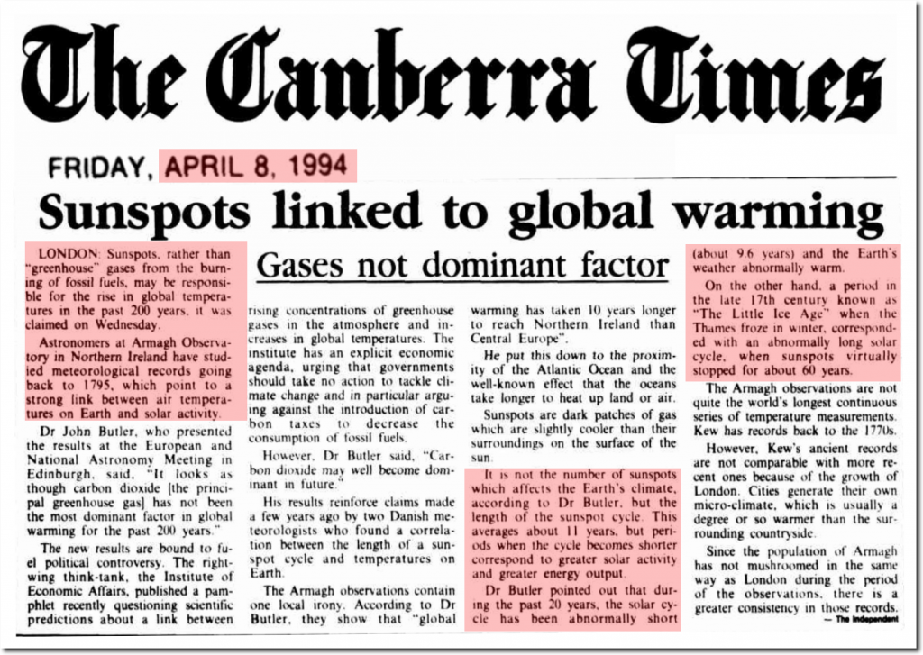 006 Canberra Times 1994 Sunspots Cause Global Warming Not