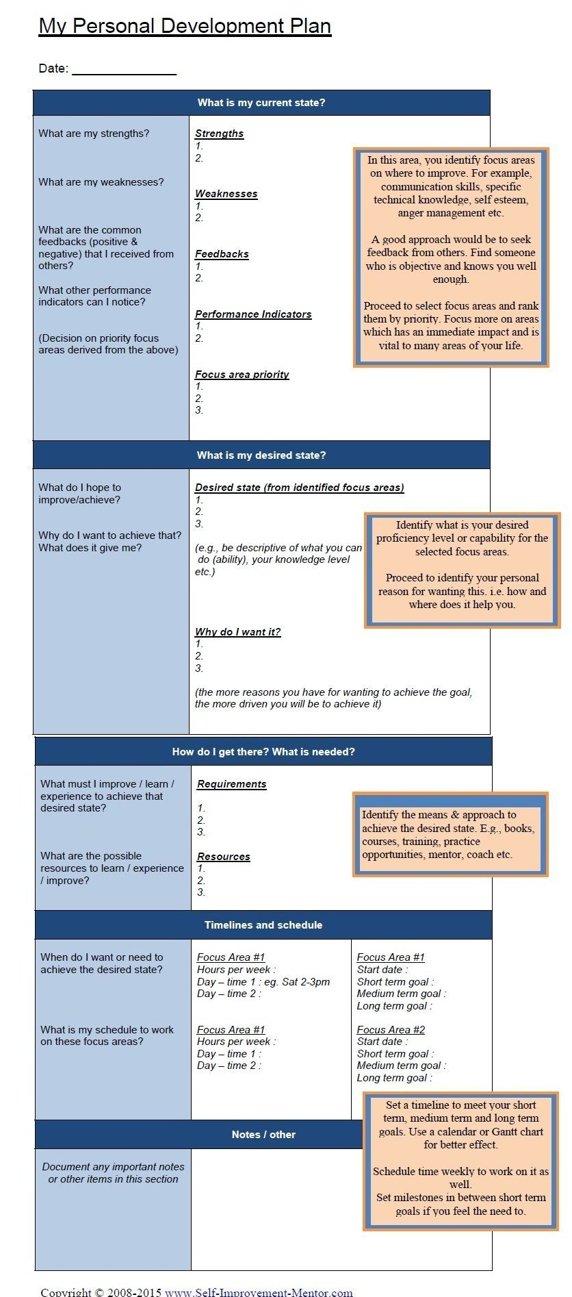 personal development template IDP individual development