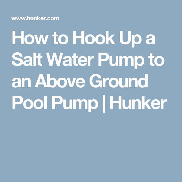 hook up above ground pool