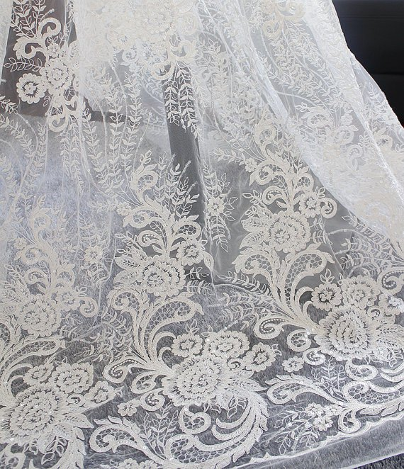 GUIPURE LACE FABRIC BLACK   52 INCHES. BY THE YARD //PAGEANT FORMAL DRESS