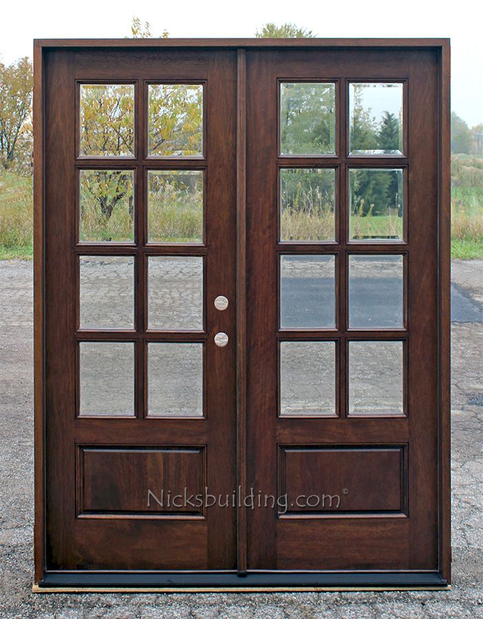 Multiple sizes mahogany french doors exterior 8 lite for Double wood doors with glass