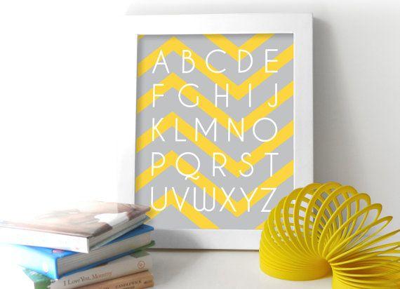ABC Chevron Baby Nursery Art Print Alphabet 8x10 Nursery or Kids ...