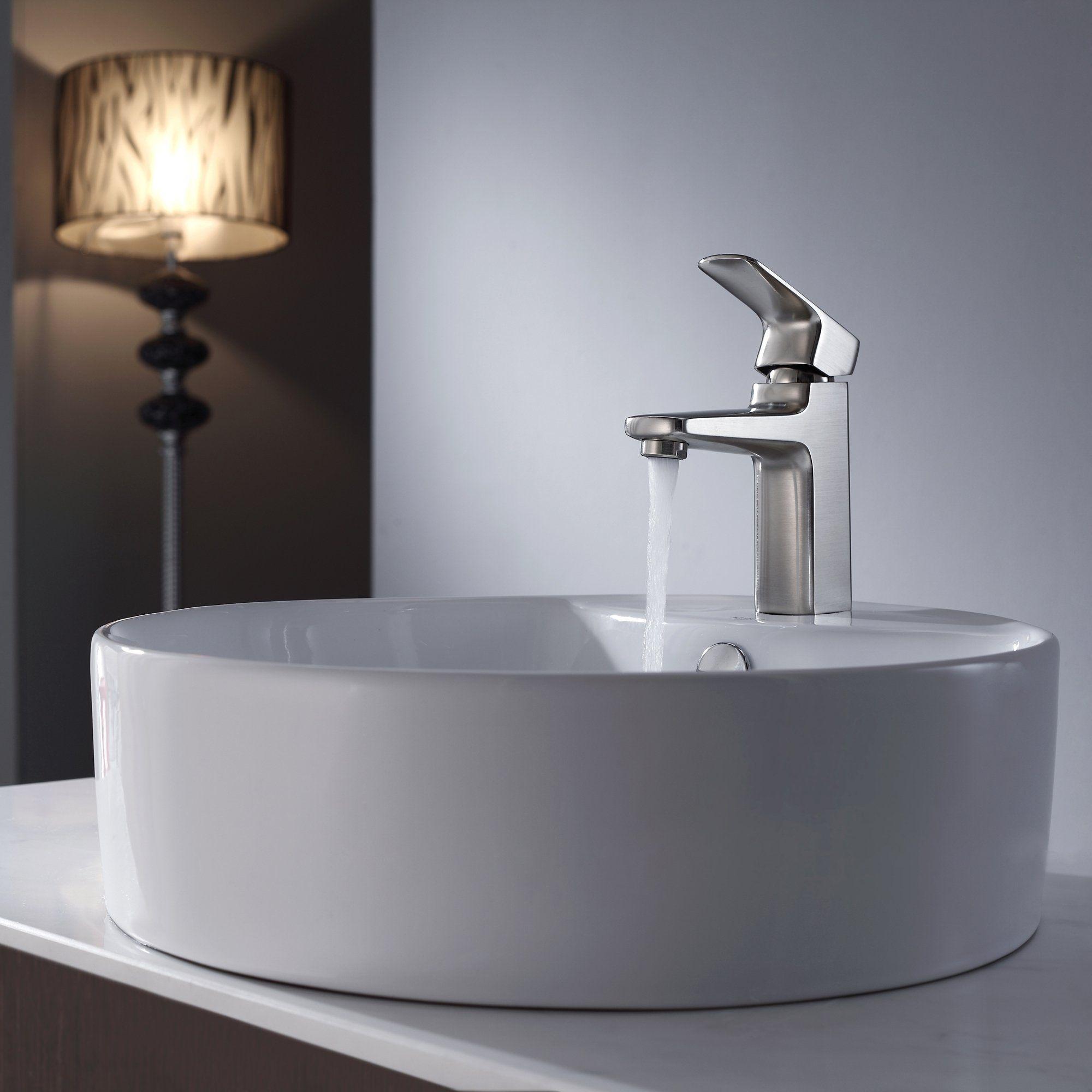 Krs Round Ceramic Vessel Sink In White with Virtus Basin Fcet