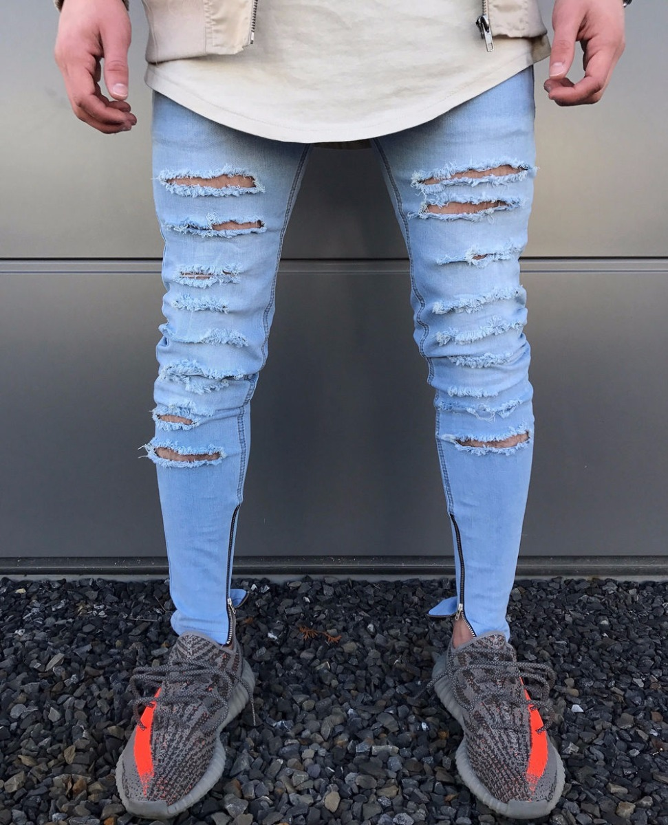 Jeans Azul Claro Fashion Cierre Rotos Biker Skinny Hombre Ropa Casual De Hombre Ropa Hipster Hombre Outfit Pantalon De Mezclilla