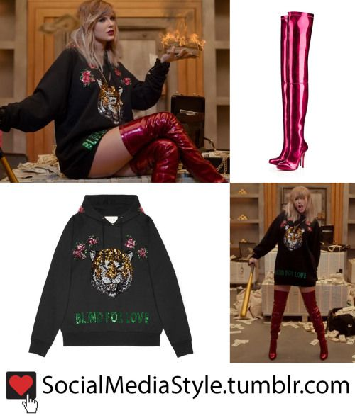 """e10c87ea48a Buy The """"blind for love"""" embroidered tiger hoodie and red over the knee  boots that Taylor Swift wore in the """"Look What You Made Me Do"""" video"""