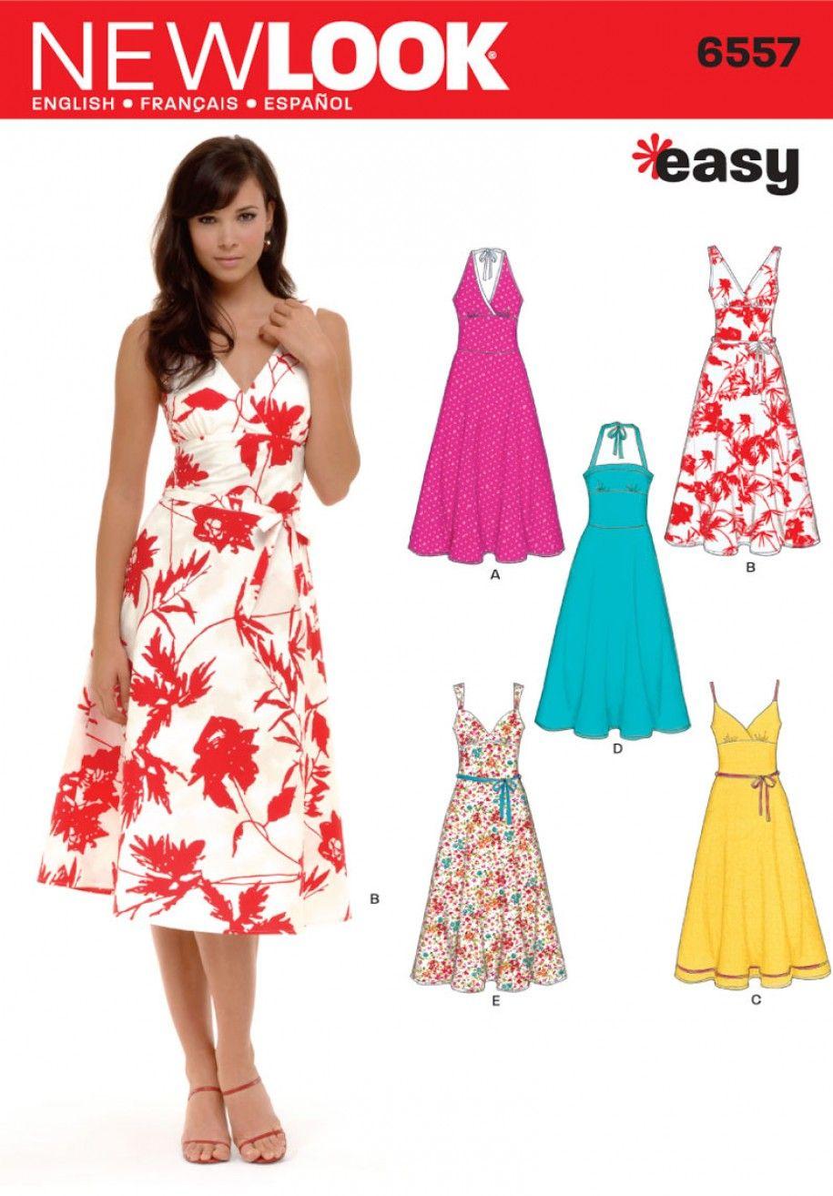 New Look 6557 Misses Dress Sewing Pattern Evening Dress Patterns Dress Sewing Patterns Sundress Pattern [ 1314 x 915 Pixel ]