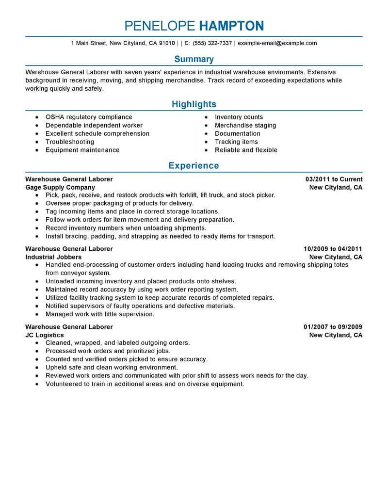 General Labor Resume summary examples, Good resume