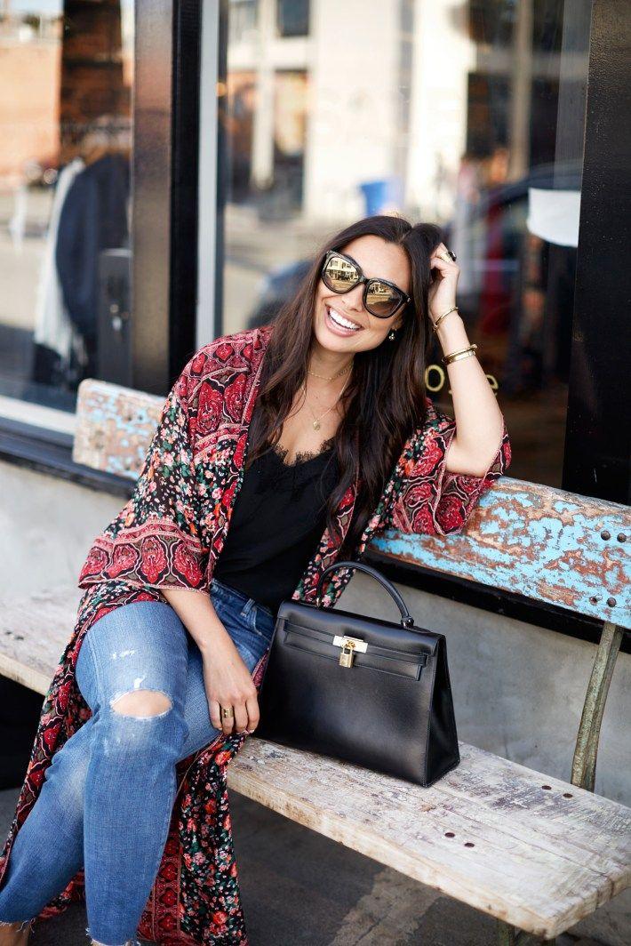 1071922dc46a Kimono on Abbot Kinney - Hermes bag    Current Elliott jeans Tulle and  Batiste kimono    Vintage sunnies Cami NYC tank c o    Stuart Weitzman heels  c o ...