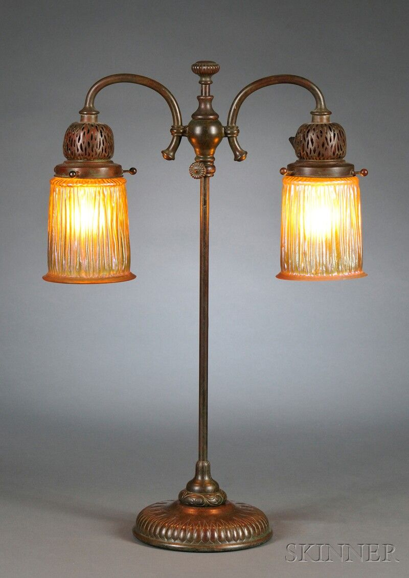 TIFFANY DOUBLE STUDENT LAMP, BRONZE AND FAVRILE GLASS ...