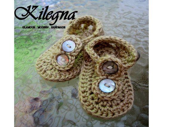 a45e54b8e541e1 Crochet baby sandals Sand and shells Gladiator Flip Flop 0-6 .month ...