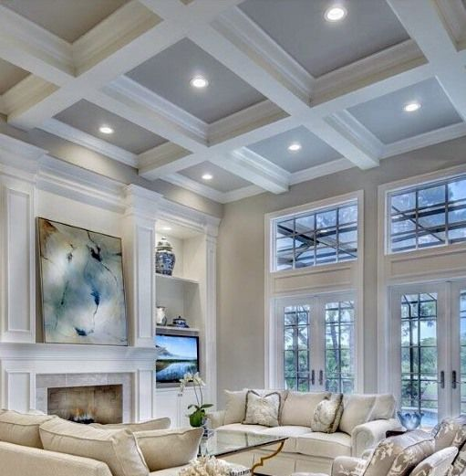 Pics Of Family Rooms: Top 50 Best Coffered Ceiling Ideas