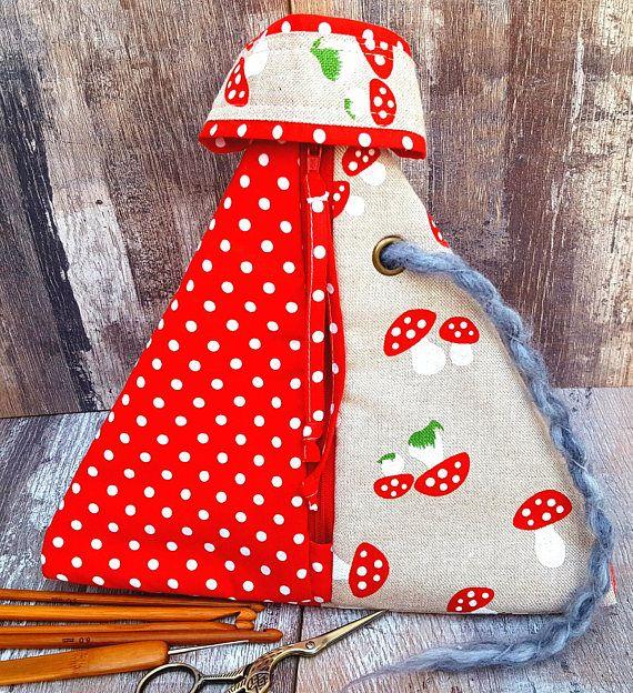 MUSHROOM PROJECT BAG Pyramid Style Geometrical Triangle Knitting Crochet Craft Linen Cotton Storage Organiser Needle Holder Handmade Gift
