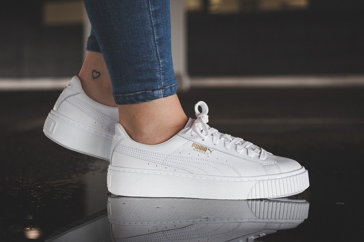 Puma Basket Platform Core Sneakers for Women White