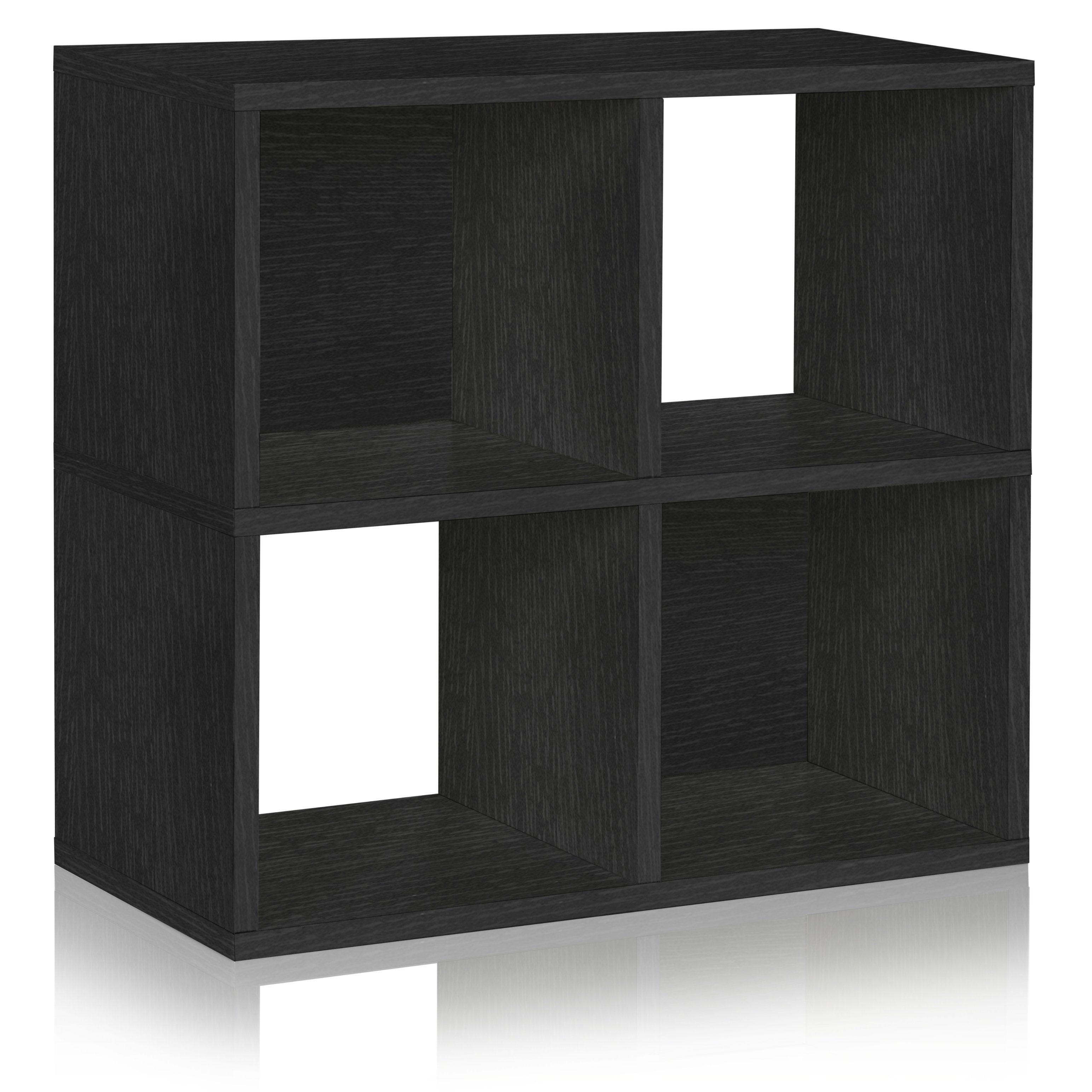 Quad Cubby Shelf And Under Desk Organizer Black Cube Bookcase Under Desk Storage Cube Storage