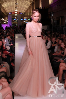 Paolo Sebastian - one of Australia's leading couturiers. A rose gold lace dress from his latest 2012 S/S collection.