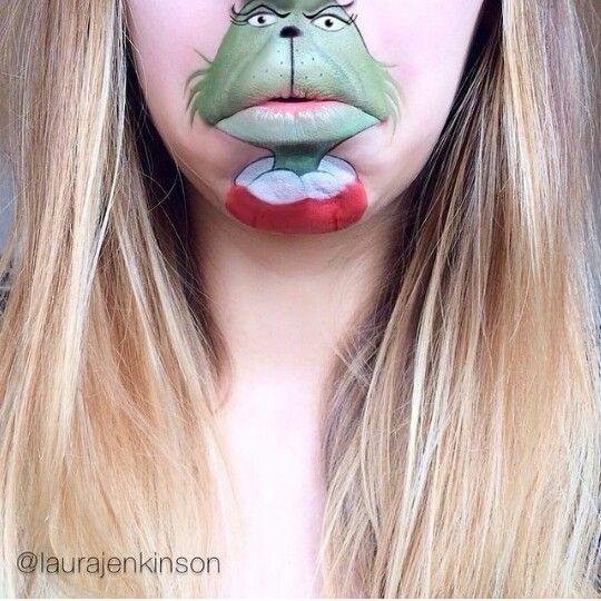 The Grinch Creative Mouth Painting Art By Laura Jenkinson - Laura jenkinson mouth painting
