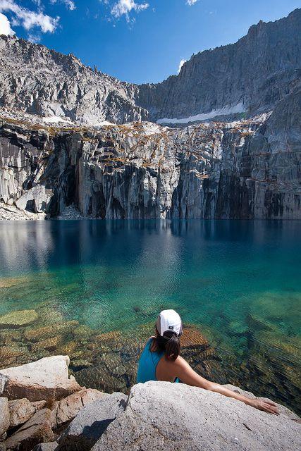 Precipice Lake lies deep in the interior of Sequoia National Park, California.