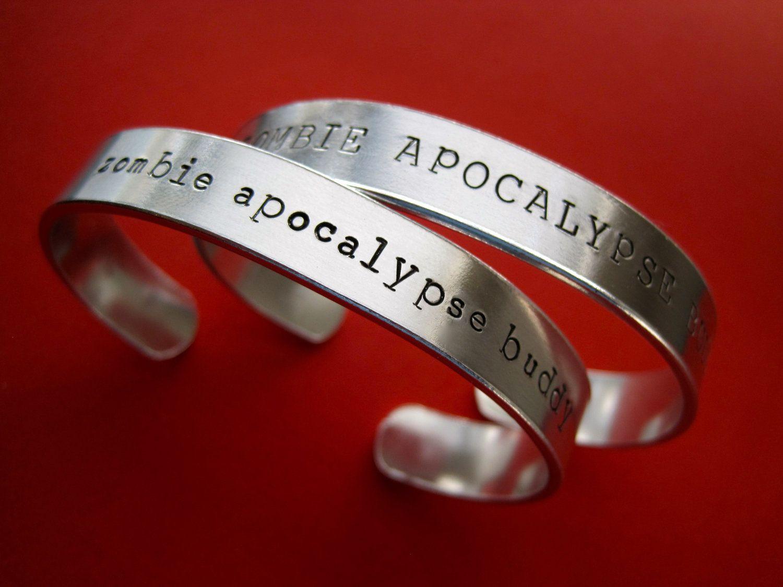 Zombie wedding decorations  Zombie Apocalypse Buddy Bracelets  Personalized Bracelet  Set of