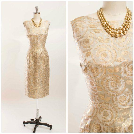 Vintage 1950s Dress Gold Lurex Jacquard 50s by stutterinmama