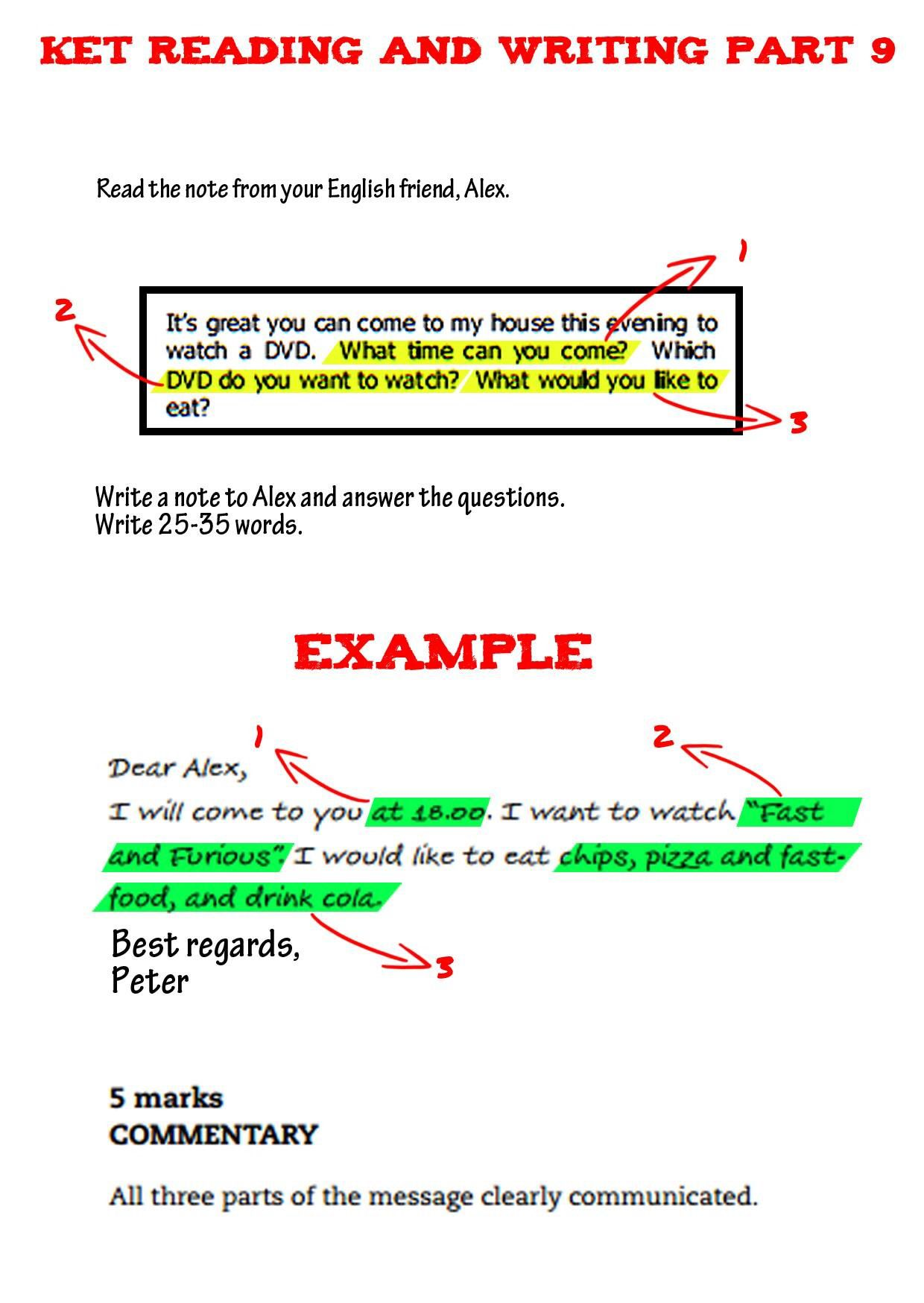 Cambridge Ket Exam Writing Part Clase De Inglés Educacion Aprender Inglés