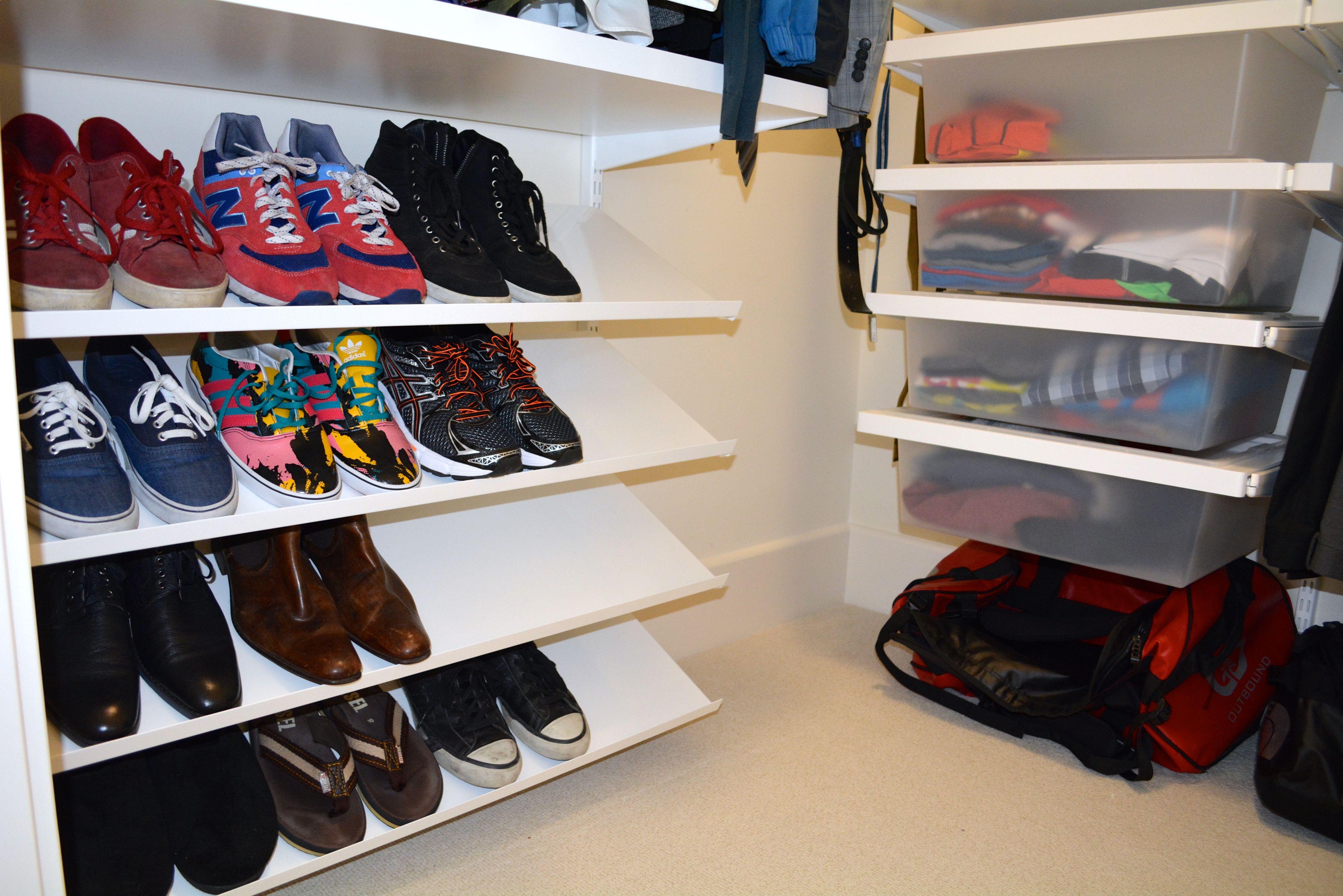 ELFA slanted shoe shelves are a great