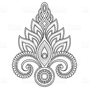 Photo of Henna tattoo flower template in Indian style. Ethnic floral …