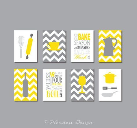 fabulous modern kitchen art print set in yellow and shades of gray complete with everything - Yellow Kitchen Decorating Ideas