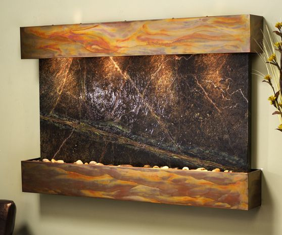 Sunrise Springs Wall Fountain with Green Rainforest Marble in ...