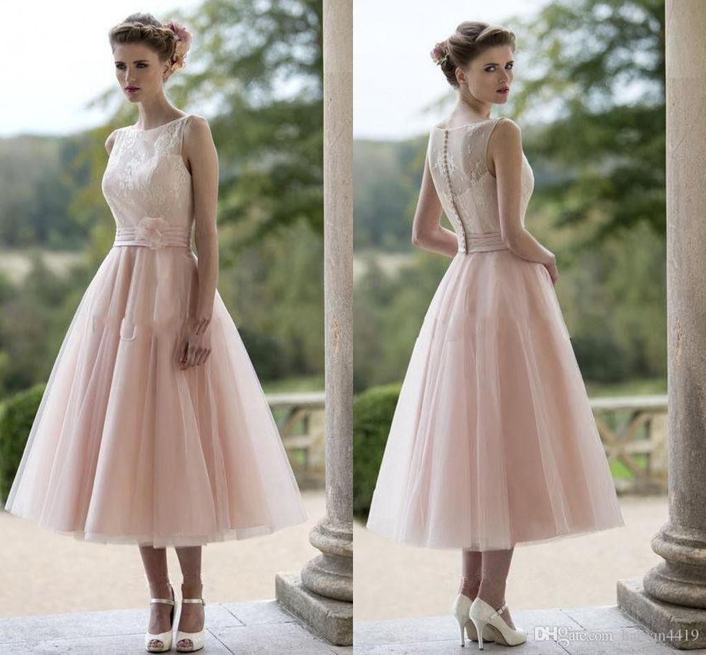 Cheap Maid Of Honor Gown Buy Quality Directly From China Blush Pink Suppliers 2017 Short Beach Lace Tulle Bridesmaid