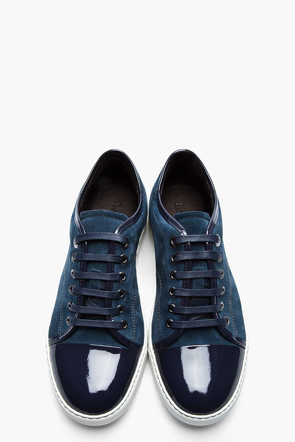 separation shoes 086cc 892f6 LANVIN Navy two-tone patent and suede tennis shoes