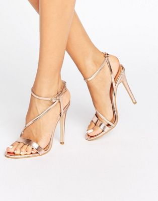 Public Desire Angeline Cross Strap Rose Gold Heeled Sandals
