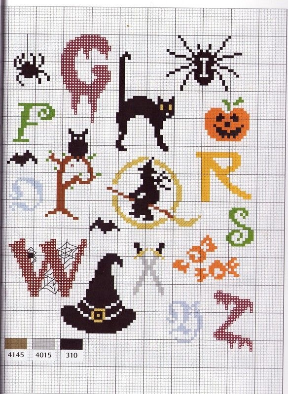 halloween alphabet page 2 | Halloween | Pinterest | Punto de cruz ...
