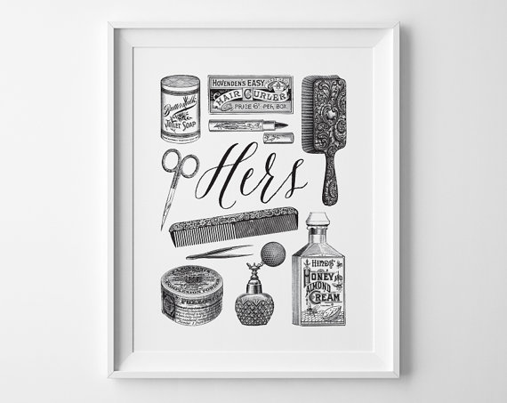 Valentines Day Gift His And Hers Art Bathroom Art Hers Vintage Toiletries Print Black And White Bathr Bathroom Art Vintage Bathroom Decor Bathroom Wall Art