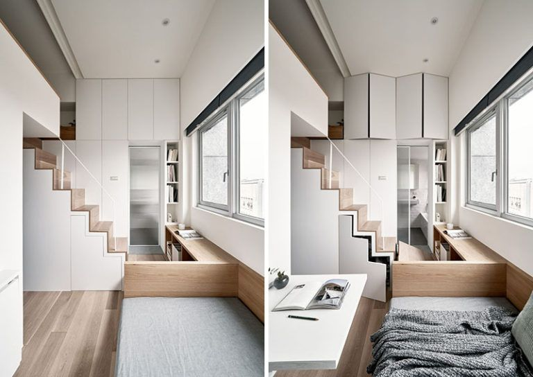 Storage Is Hidden Throughout This Tiny Apartment Like Cupboards Above The Door To The Bathroom A Small Apartments New Bathroom Designs Modern Small Bathrooms