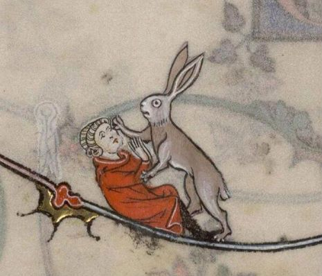 """Watch out, that rabbit's dynamite!"" Check out the illuminated manuscript inspiration for Monty' Python's ""killer rabbit"" http://dangerousminds.net/comments/medieval_times_attack_of_the_giant_killer_rabbits Night of the Lepus"