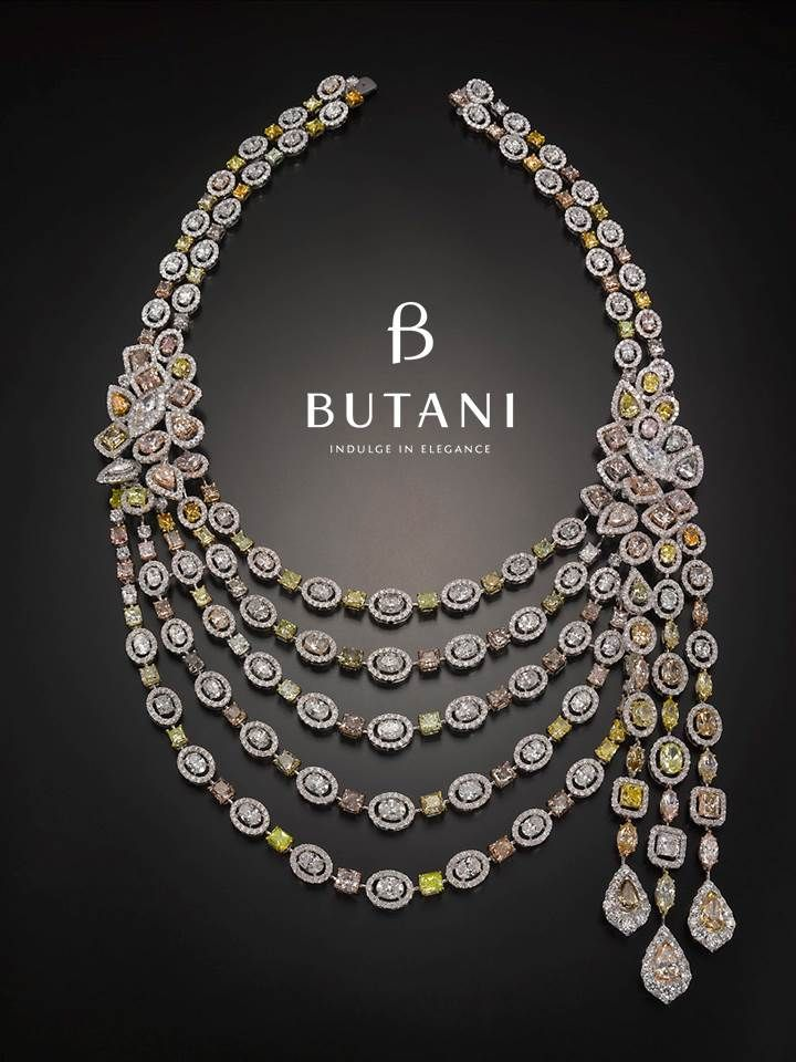 Redefining Luxury Starting With This 100 Carat Necklace With Fancy Colour Diamonds Butani Butan Diamond Jewelry Necklace Bridal Diamond Necklace Fine Jewelry