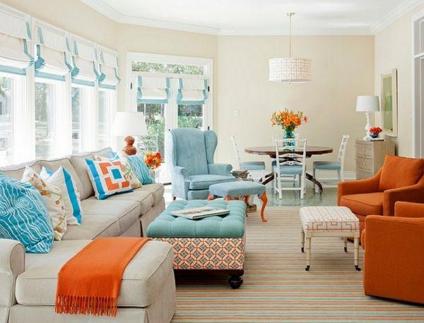 living room window treatment ideas roman shades colorful pillows symmetrical figures