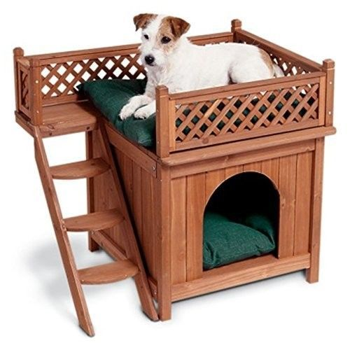 Cedar Wood Dog House Pet Home Outdoor Room Balcony View Cat Bed Shelter Kennel Wooden Dog House Outdoor Dog House Cool Dog Houses