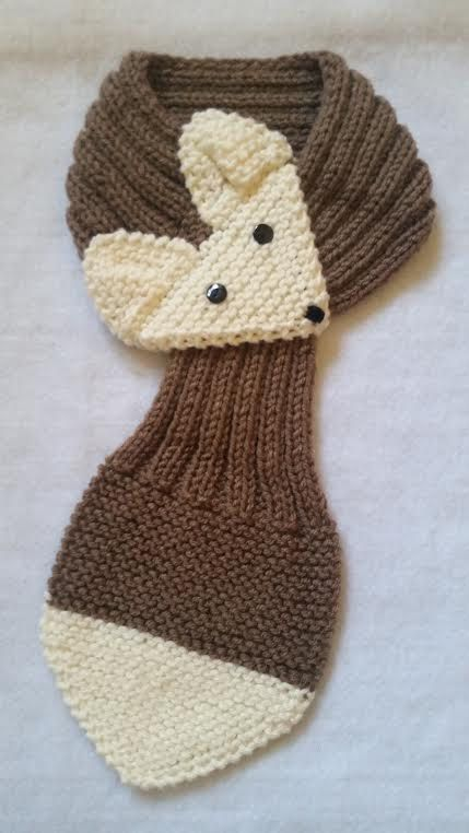 Kids Or Adult Fox Scarf Hand Knit Scarf Neck Warmer Cafe Latte