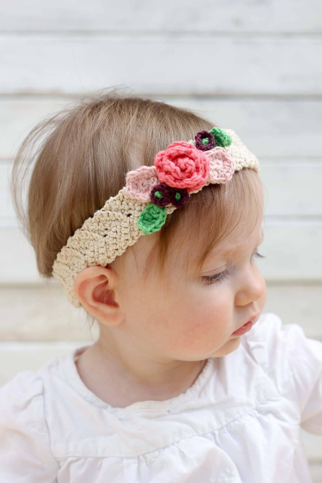 Free Crochet Flower Headband Pattern (Baby, Toddler, Adult) | Bebé