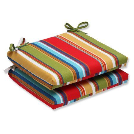 Pillow Perfect Outdoor/ Indoor Westport Garden Squared Corners Seat Cushion (Set of 2), Multicolor