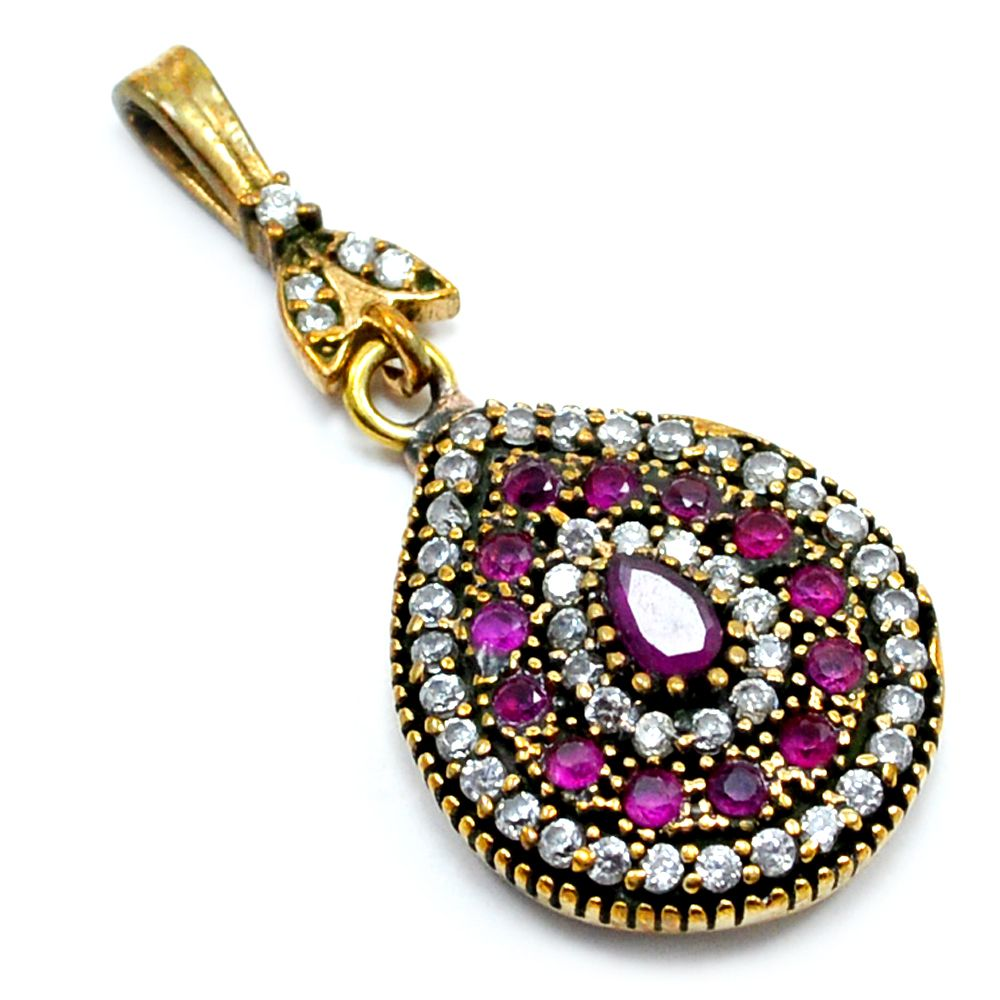 Silvesto India Ruby And White Topaz (Lab) 925 Sterling Silver With Bronze Turkish Pendant for Women pg-7121  https://www.amazon.es/dp/B01H57L8S8