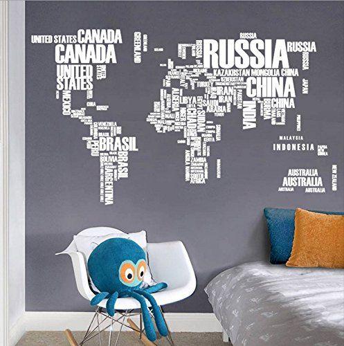 Zooarts diy white english alphabet world map wall decals https zooarts diy white english alphabet world map wall decals https gumiabroncs Images