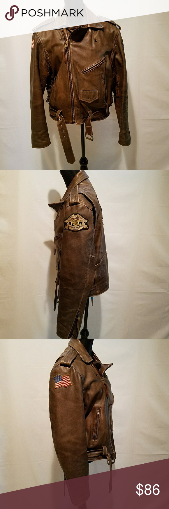 Classic Vintage Patched Leather Moto Jacket Brown