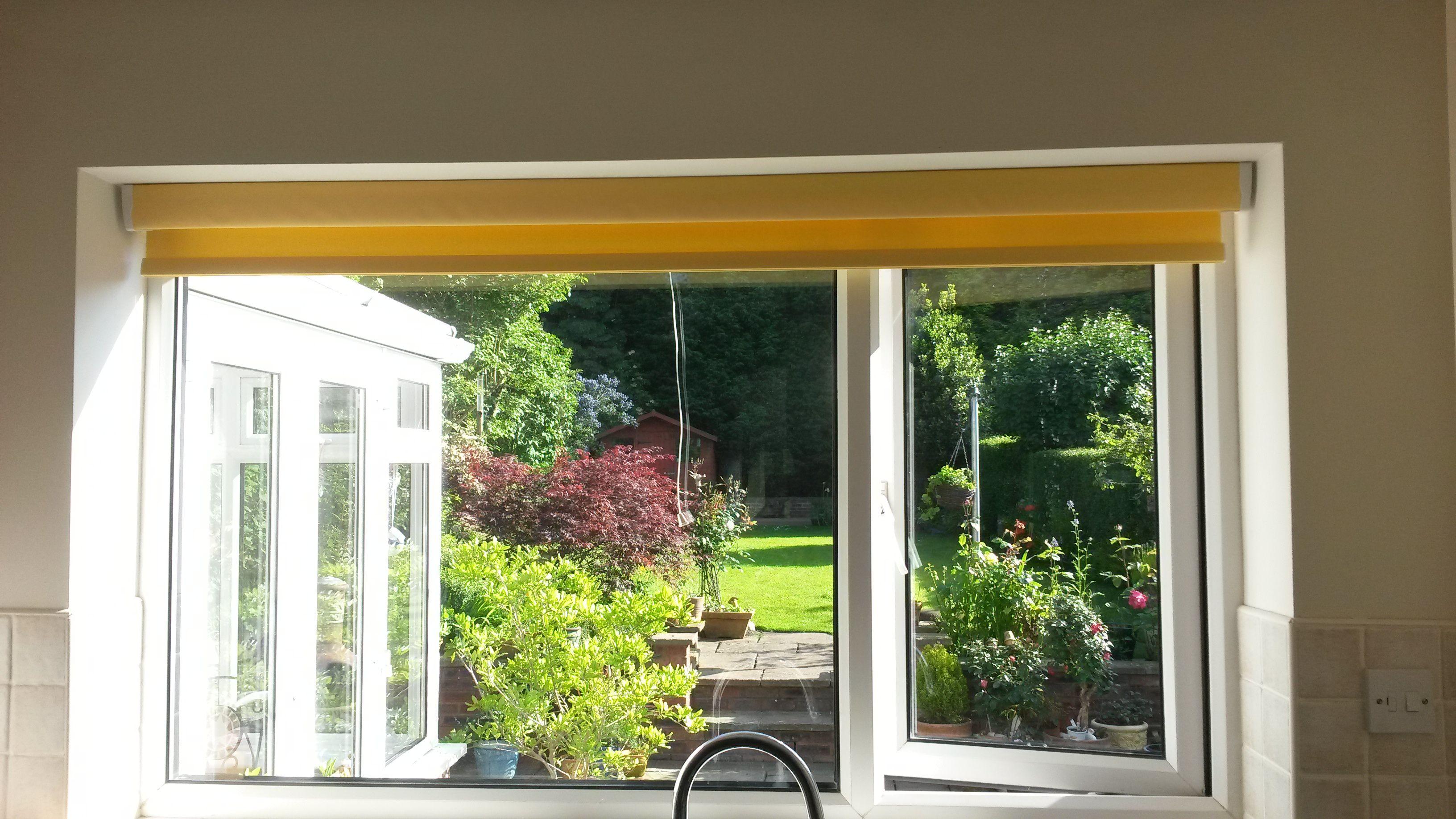 Soft Rise Roller Blind Child Safe Bright Yellow Kitchen