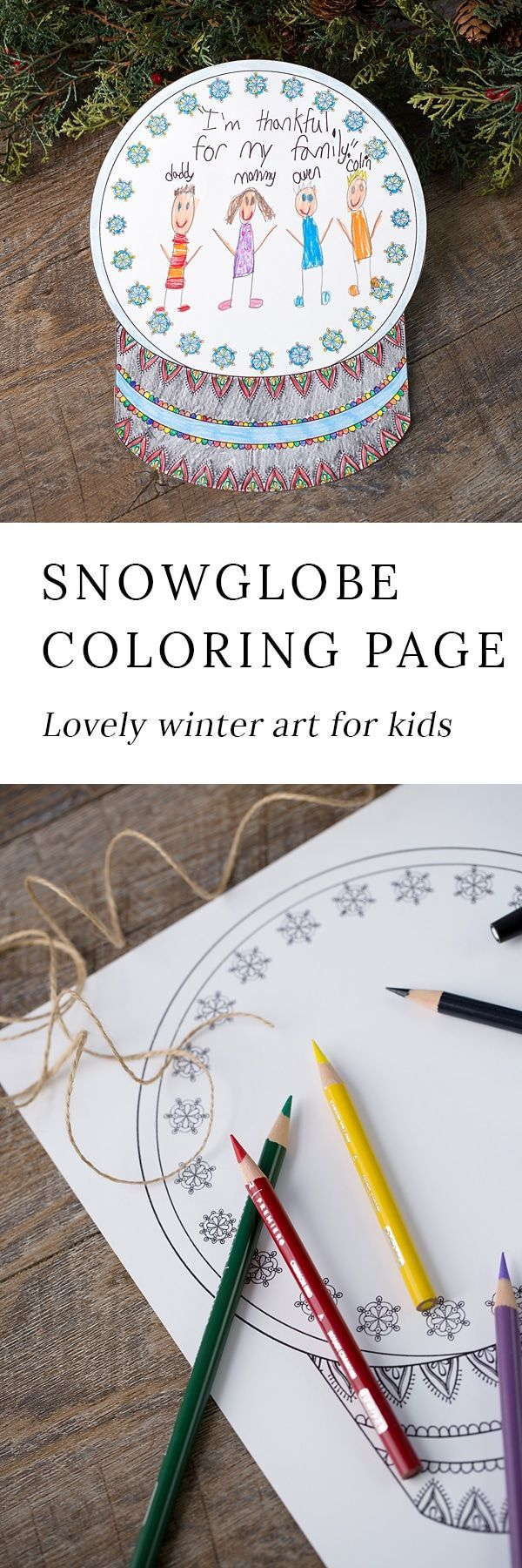 The Prettiest Snow Globe Coloring Page for Kids Winter