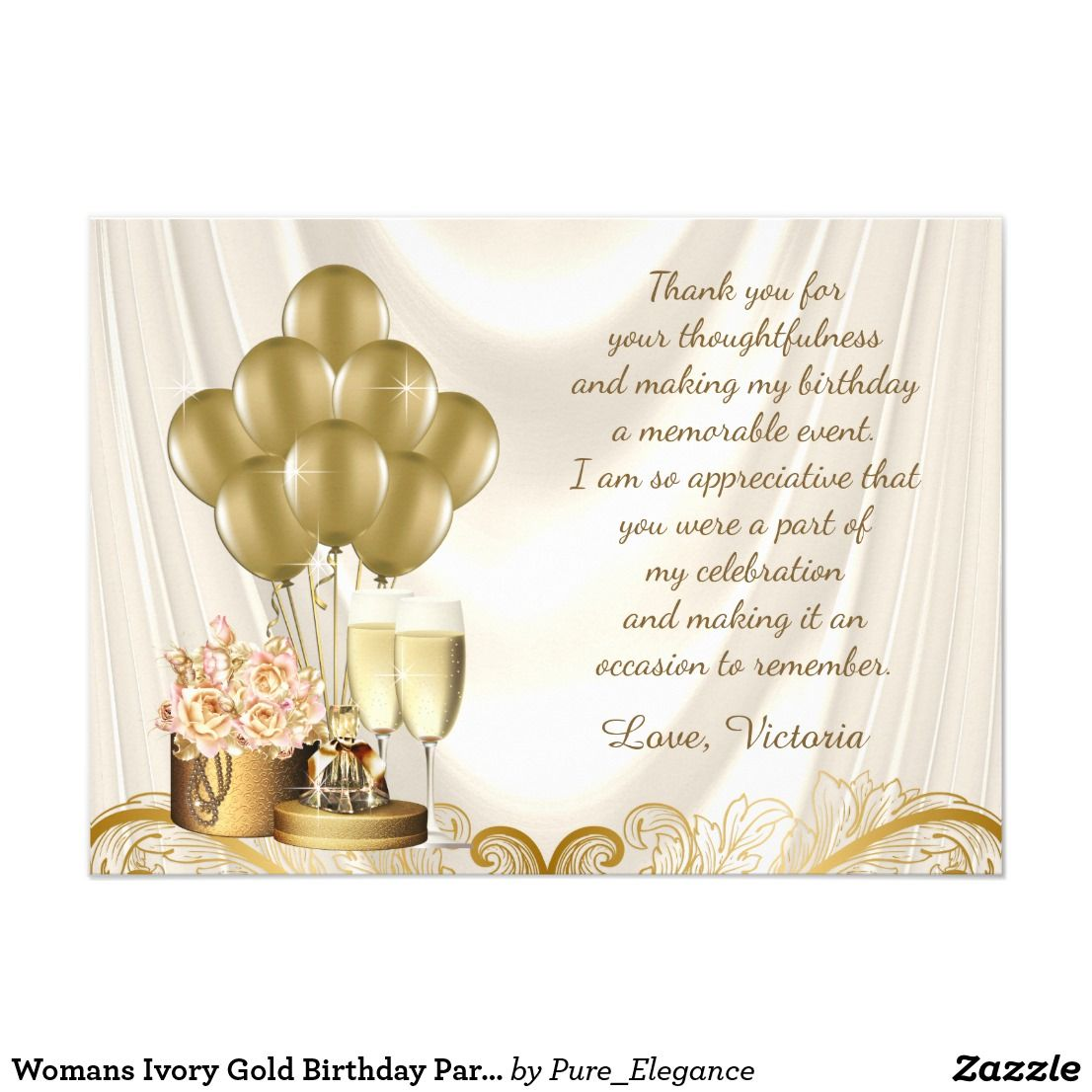 Womans Ivory Gold Birthday Party Thank You Cards