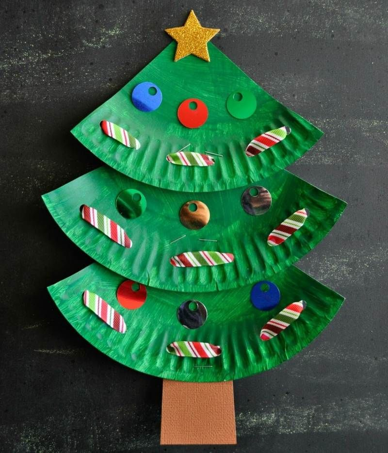 basteln mit kindern weihnachtsbaum aus papptellern und. Black Bedroom Furniture Sets. Home Design Ideas