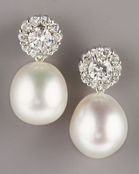 Pearl Diamonddiamond Earringsdrop