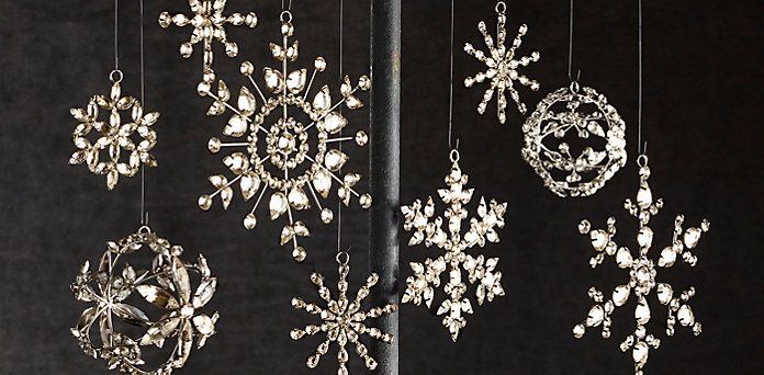 Victorian glass snowflake ornaments. Restoration Hardware.
